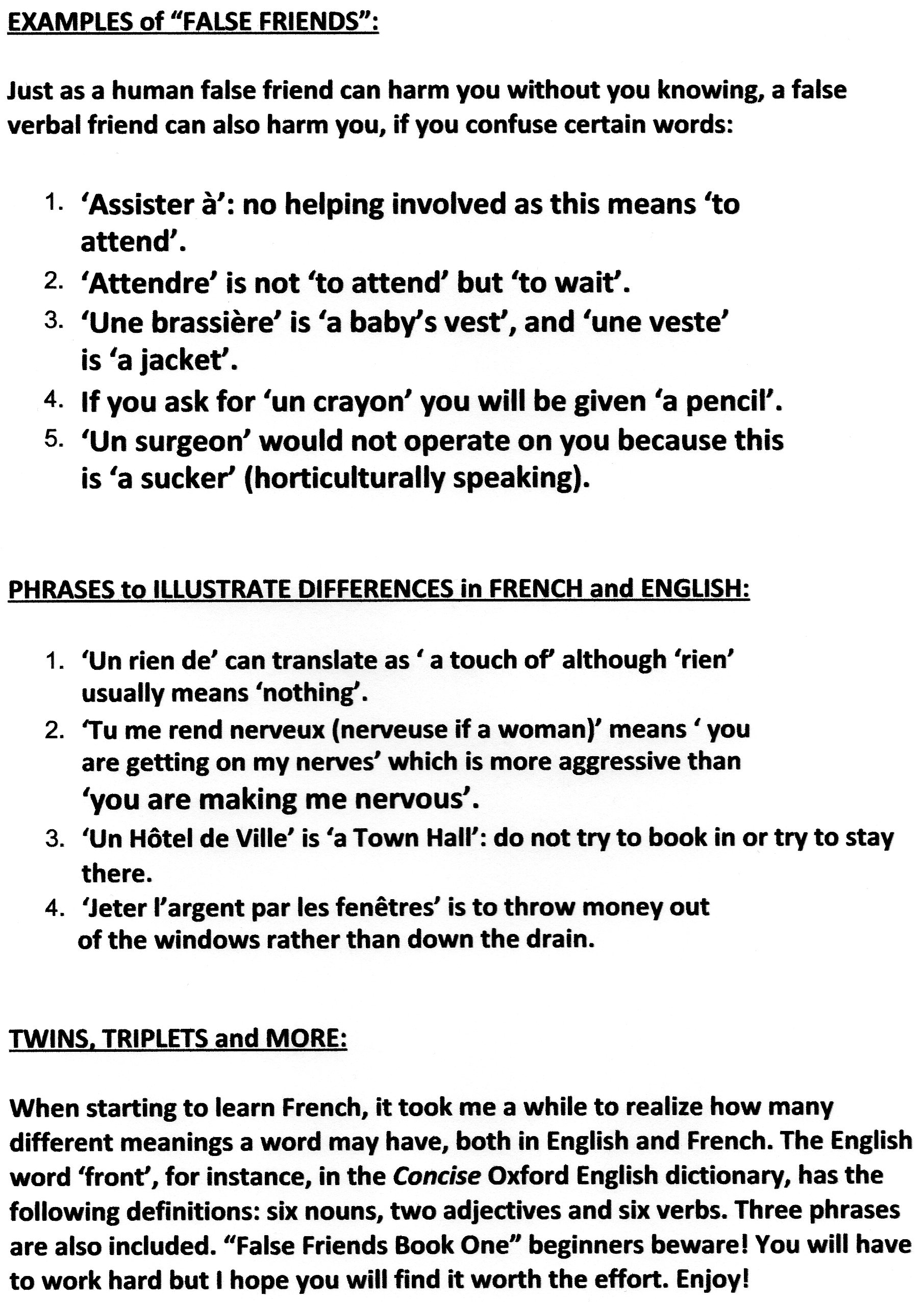 Examples Of False Friends French Phrases